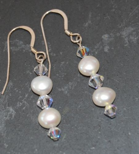 Freshwater Pearl & Swarovski Earrings (Large)  FE01-L